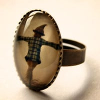 Scare Crow Scarecrow Glass Ring Brushed Silver or Brass