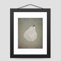 Paper Pear Kitchen Home Print - Paper Collage Pear - Kitchen Wall Art, 8 x 10