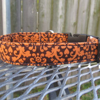Dog Collar - MADE TO ORDER Orange and Brown Damask Print Dog Collar - fall dog collar, cute dog collar, boy dog collar, harvest dog collar