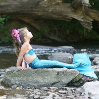 Mermaid Costume - Blue Mermaid Tail for Little Girls 8-10
