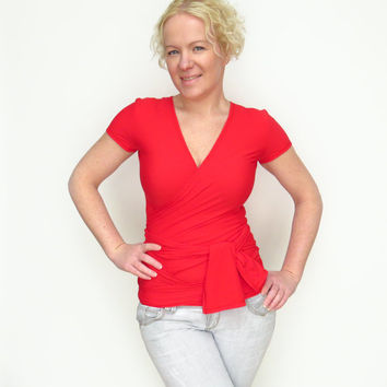 Red wrap top wrap aroung top maternity shirt red sweatshirt