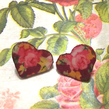 Rose Fabric Wooden Heart Earrings