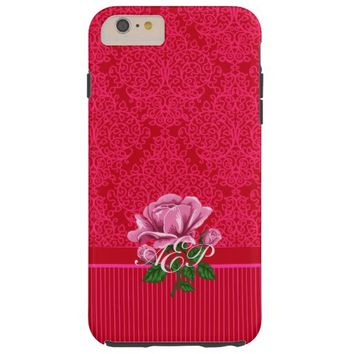 Red and Pink Damask Swirls & Stripes iPhone 6 Case