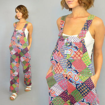 vtg 70's PATCHWORK DENIM paisley checkered hippie boho OVERALLS bibs dungarees, extra small