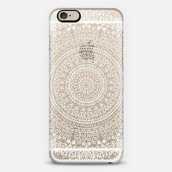 WHITE FEATHER MANDALA - CRYSTAL CLEAR PHONE CASE iPhone 6 case by Nika Martinez | Casetify