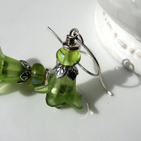 SPRING BLOSSOM LUCITE/ LAMPWORK TRINITY SILVER EARRINGS - by GErManoArts on madeit