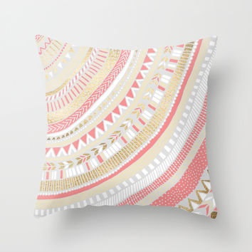 Coral + Gold Tribal Throw Pillow by Tangerine-Tane