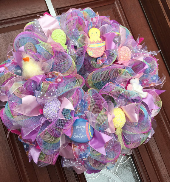 easter wreath deco mesh spring wreath from what 39 s on your. Black Bedroom Furniture Sets. Home Design Ideas