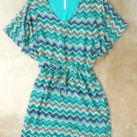 Teal Zig Zag Dress [3336] - $38.00 : Vintage Inspired Clothing & Affordable Fall Frocks, deloom | Modern. Vintage. Crafted.