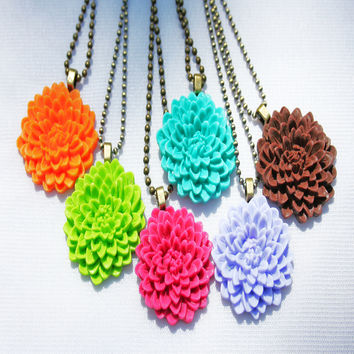 """""""Flower Pops"""" Resin Cabochon Necklaces by aridesigns-studio on Zibbet"""