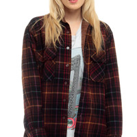 Brown Flannel Shirt Plaid Button Up 90s GRUNGE Long Sleeve Black Red 80s Checkered 1990s Vintage Oversized Lumberjack Men retro Small Medium