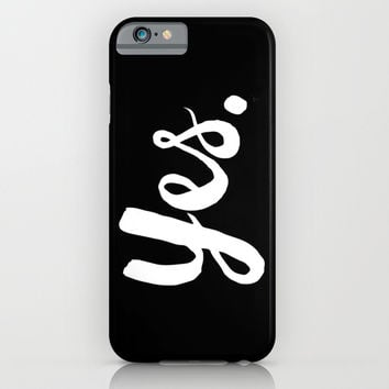 Yes - Black and white iPhone & iPod Case by Allyson Johnson
