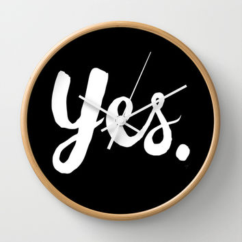 Yes - Black and white Wall Clock by Allyson Johnson