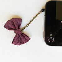 Purple Matte Snake Bow iPhone Headphone Plug/ Dust Plug - Cell phone Accessories