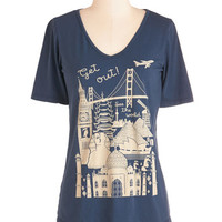 ModCloth Travel Mid-length Short Sleeves Let's Rock and Roam Tee