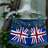 British Flag shorts, studded upper right pocket with One Direction signatures on back pockets