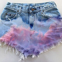 Last Listing (Once this is sold there will be no more left)- High waist, pastel cloud shorts with rips- Made to order