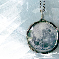 Silvery Moon Necklace. Sterling Silver Chain. Full Moon Jewelry. One Inch Small Double Sided Pendant