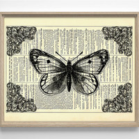 Moth With Ornate Decor Vintage Illustration, Eco Friendly Home, Kitchen, Bathroom, Nursery Decor, Dictionary Book Print Buy 2 Get 1 FREE