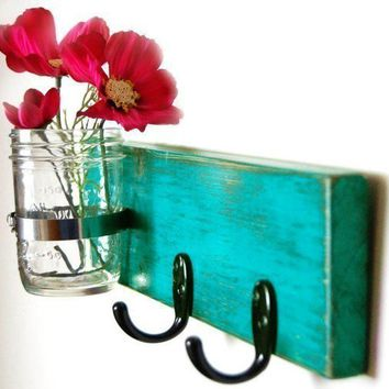 $32.00 turquoise key hook wall key hanger mason jar vase by OldNewAgain