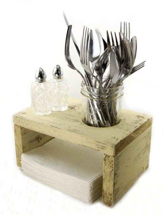 $42.00 napkin holder salt pepper table organizer WOOD by OldNewAgain