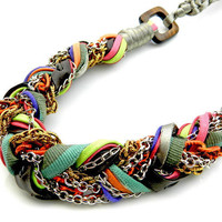 Braided statement necklace multicolored by whimsicaljewellery