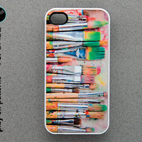iphone 4 Case - iphone 4s case - plastic or silicone rubber - paint brushes