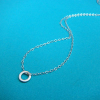 tiny circle necklace. sterling silver pendant. delicate. simple. modern. dainty. everyday. minimalist. zen jewelry. eternity. ready to ship