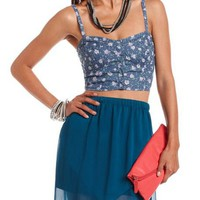 Button-Down Denim Bralette: Charlotte Russe
