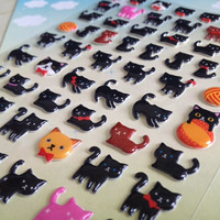 Little black cat sticker mini baby cat seal sticker happy cat red ribbon pussy cat deco sticker cat lovely animal sticker deco special mail