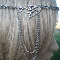 Boho Accessory Single Large Chain Headband With Bird Chain Drop