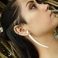 Fake gauge , Natural White Bone ,Split Gauge Earrings ,Sprial,tribal style,hand carved XXL
