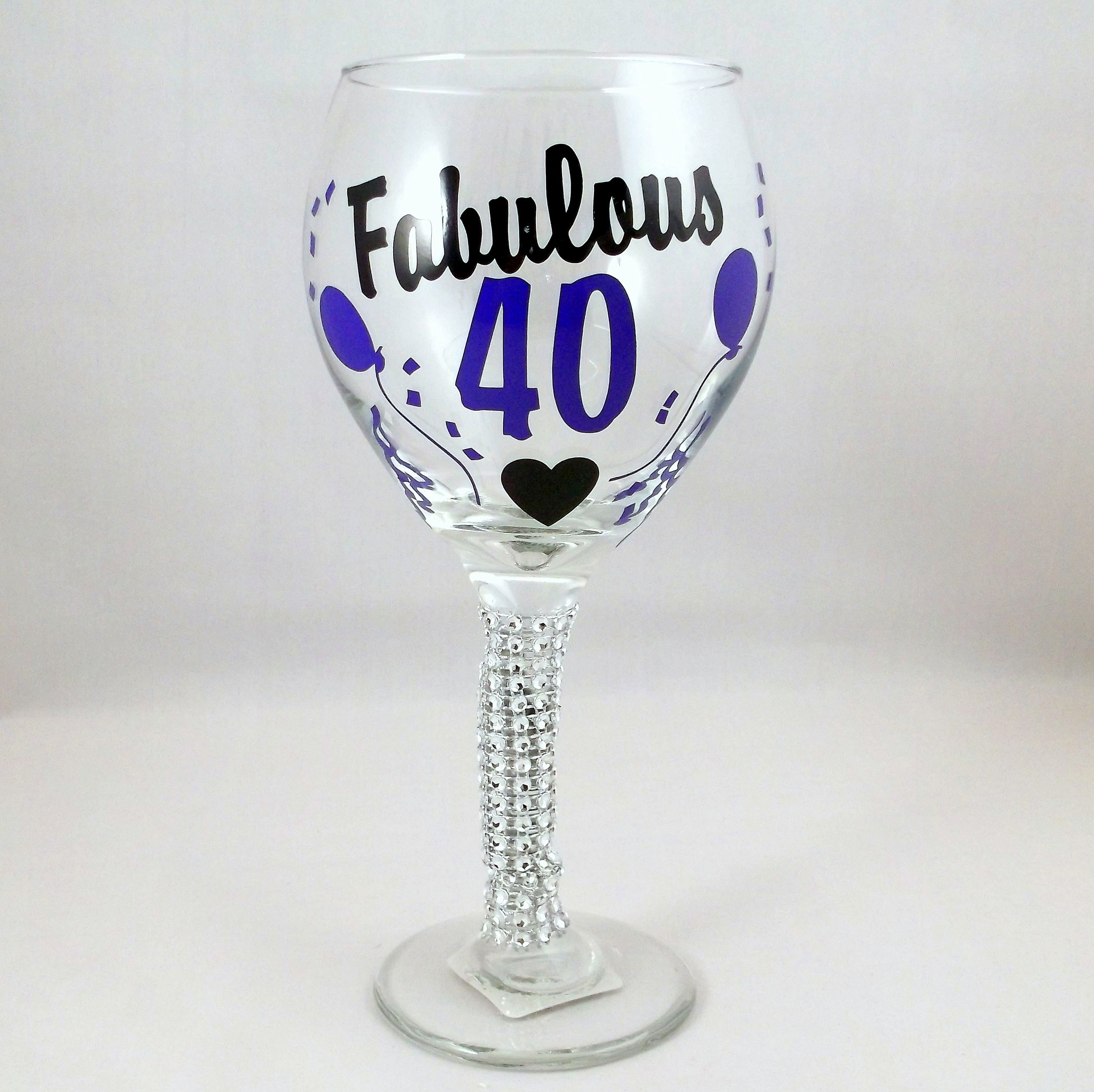 fabulous 40 birthday wine glass extra from dogwood alley