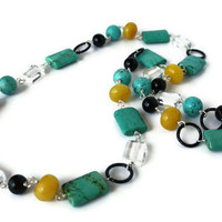 Chunky Beaded Necklace with Gemstones. Black, Turquoise and Mustard Yellow Necklace.