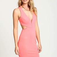 NEON CORAL CUT OUT PLUNGE BODYCON DRESS