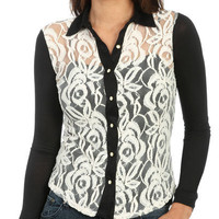 Mixed Media Button Shirt | Shop Tops at Wet Seal