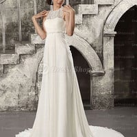 Sheath/Column Bateau Sweep Train Chiffon White Wedding Dress With Pleating at Dresseshop