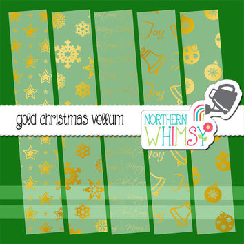 Gold Foil Vellum Christmas Digital Paper Pack – elegant vellum papers for Christmas cards & scrapbooking – instant download – CU OK