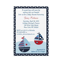 Sail Away Sailboat Ocean Baby Shower Invitations from Zazzle.com