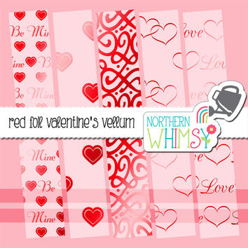Metallic Red Foil Love Vellum Digital Paper Pack – vellum papers for Valentines or Love cards & scrapbooking – instant download – CU OK