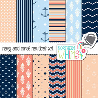 Aqua, Coral, and Navy Digital Paper Pack – scrapbook papers in chevron, damask, polka dot, & nautical patterns – instant download – CU OK