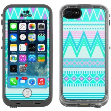 Skin Decal for LifeProof Apple iPhone 5C Case - Aztec Andes Tribal White and Teal Design