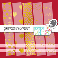 Gold Foil Valentine's Vellum Digital Paper Pack – vellum papers for Valentines or Love cards & scrapbooking – instant download – CU OK