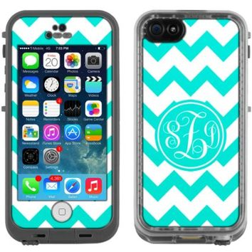Skin Decal Monogram for LifeProof iPhone 5C Case - Chevron Turquoise and White