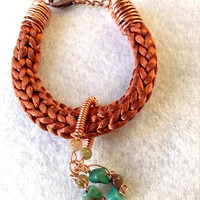 Bronze satin french knitted boho gemstone copper wire jewellery Mothers Day bracelet turquoise agate