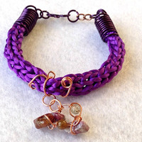 Purple satin french knitted boho gemstone copper wire jewellery Mothers Day bracelet tourmaline agate