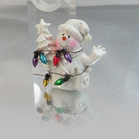 Vintage Snowman Brooch. Tangled in Christmas Lights.