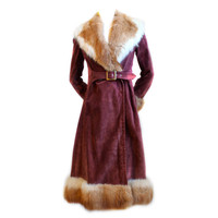 1970's GUCCI burgundy suede coat with fox fur trim at 1stdibs