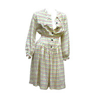 70S VALENTINO--SILK DOTS DRESS at 1stdibs