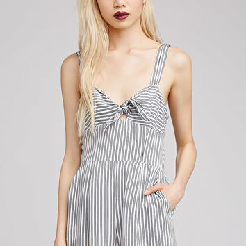 Striped Bow-Front Romper